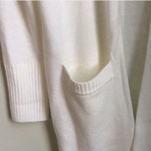 Sweaters - Long duster knit white cardigan with pockets